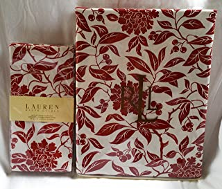Ralph Lauren Pineview Red Fabric Tablecloth (52x70) and Napkin (4) Set