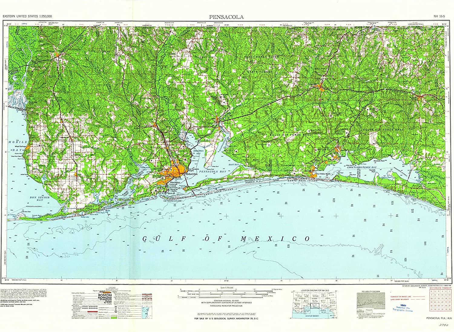 Updated 1960 YellowMaps Pensacola FL topo map Historical 23 x 33 in 1960 1:250000 Scale 1 X 2 Degree