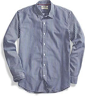 Amazon Brand – Goodthreads Standard-Fit Long-Sleeve Plaid Poplin Shirt