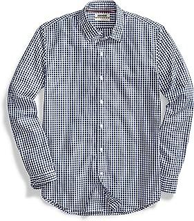 Amazon Brand - Goodthreads Men's Standard-Fit Long-Sleeve Gingham Plaid Poplin Shirt