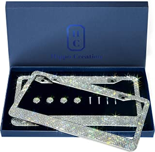 2 Pack Luxury Handcrafted Bling White Rhinestone Premium Stainless Steel License Plate Frame with Gift Box | 1000+ pcs Finest 14 Facets SS20 Clear White Rhinestone Crystal | Anti-Theft Screw Cap