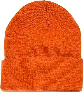 Long Knit Beanie Ski Cap Hat in Orange