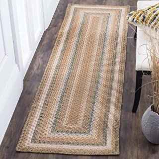 Safavieh Braided Collection BRD314A Hand Woven Tan and Multi Area Rug (2'6