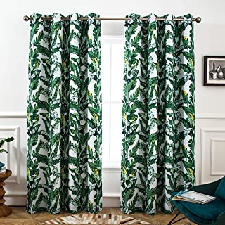 DriftAway Tropical Leaves Botanical Pattern Blackout Room Darkening Grommet Lined Thermal Insulated Energy Saving Window Curtains 2 Layers 2 Panels Each 52 Inch by 84 Inch Green