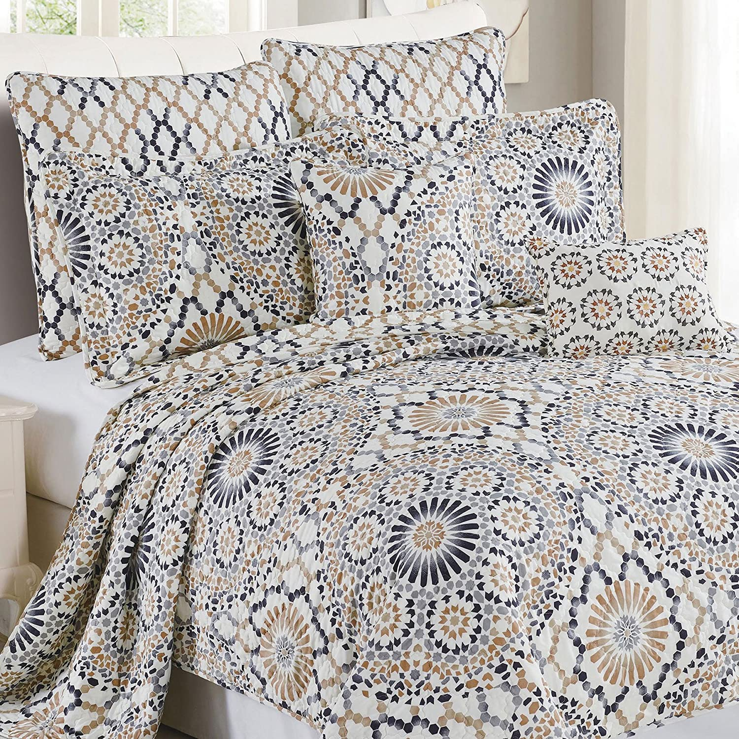 Serenta 7 Piece Printed Microfiber Bedspread T Manufacturer regenerated product Set Louisville-Jefferson County Mall Queen Quilts