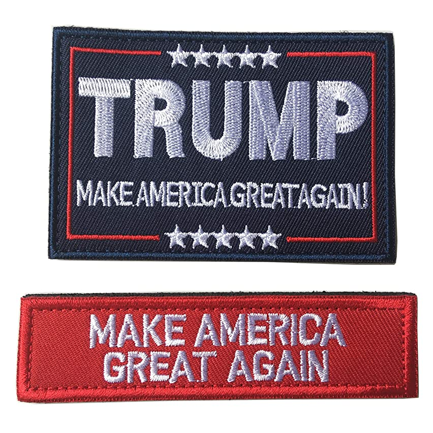 Trump Make America Great Tactical Morale Patch Hook and Loop Fastener Backing Emblem (B-red)