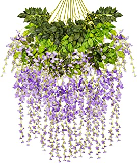 Ivyue 12Pack Wisteria Vine Artificial Silk Wisteria Lane Rattan Fake Wisteria Artificial Flowers Garland Hanging Flowers Wisteria Bush for Home Garden Party Wall Wedding Decoration 3.6ft (deeppurple)