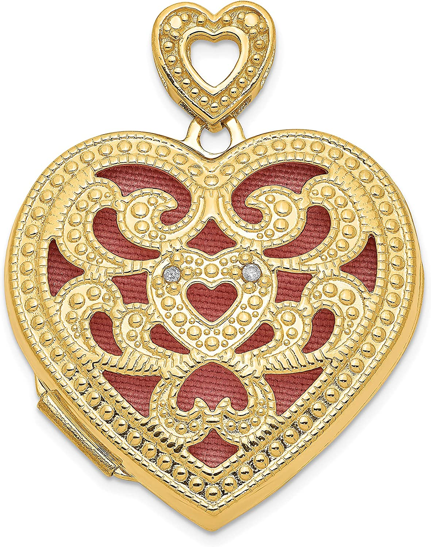 14k Yellow Gold 24mm Heart Diamond Vintage Locket 24x25mm (0.01 cttw, I1-I3 Clarity, I-J Color)