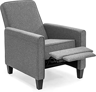 Best Choice Products Modern Sleek Upholstered Fabric Padded Executive Recliner Club Chair w/Leg Rest, Sturdy Frame, Slate Gray