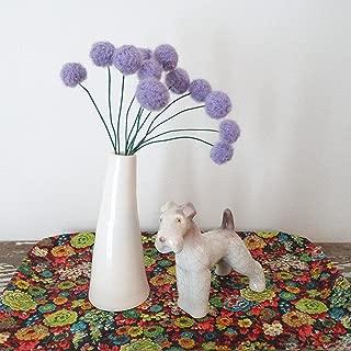 Purple Felt flowers - Lilac Lavender alpaca wool pom poms - Faux craspedia flower bouquet - Felt billy ball floral arrangement - Fuzzy felt balls