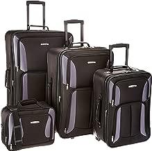 Rockland Luggage 4 Piece Set, Black/Gray, One Size