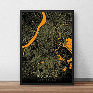 Recollection Kolkata City Map Art Print Poster 12 x 18 inch Wall Decor for Home Office Restaurant Hotel Interior Decoratio...