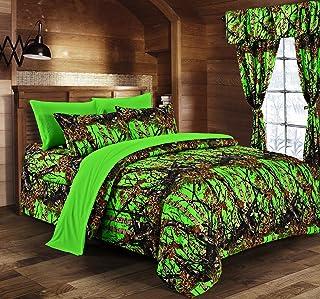 Regal Comfort The Woods Bio Hazard Green Camouflage Queen 8pc Premium Luxury Comforter, Sheet, Pillowcases, and Bed Skirt ...