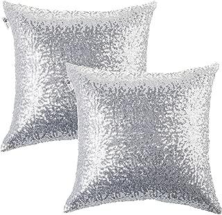 Kevin Textile Decorative Glitzy Sequin & Comfy Satin Solid Throw Pillow Cover Sham 18 Inch Square Pillow Case, Hidden Zipper Design, (2 Packs,Silver)