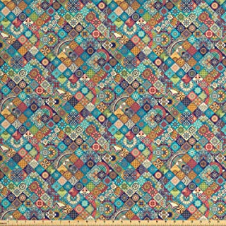 Ambesonne Bohemian Fabric by The Yard, Geometric Pattern with Ornamental Floral Folk Art Abstract, Decorative Fabric for Upholstery and Home Accents, 3 Yards, Blue Cream