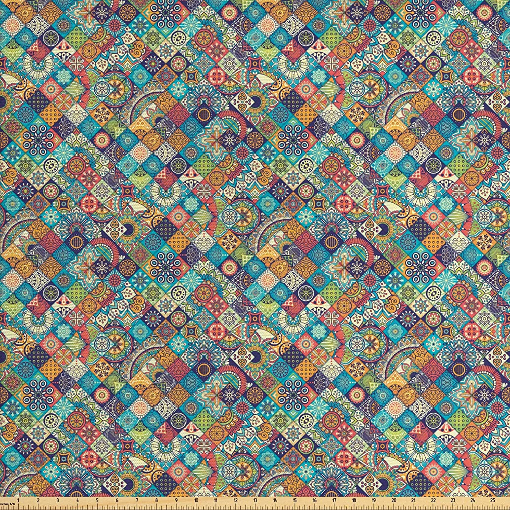 Ambesonne Bohemian Fabric by The Yard, Geometric Pattern with Ethnic Ornamental Floral Figures Ethnic Folk Art Abstract, Decorative Fabric for Upholstery and Home Accents, 1 Yard, Multicolor