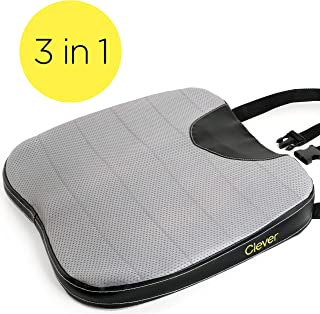 Car Seat Cushion with Strap - Thick, Firm 2 Inch Foam Auto Wedge, Coccyx Support for Back, Hip, Leg Pain, for Drivers, Office Chairs, Wheelchairs, Breathable, Washable Cover