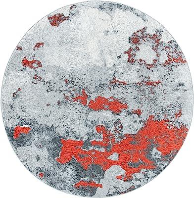 Safavieh Adirondack Collection ADR134P Modern Abstract Distressed Area Rug, 6' Round, Orange/Grey