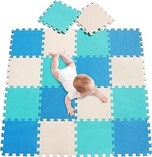 meiqicool Tapis de Sol épais et Jouet Éducatif Puzzle géant aux Motifs – Lot de 18 Dalles en Mousse Blue Vert Beige 070810