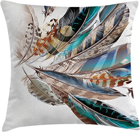 Amazon Com Ambesonne Feathers Throw Pillow Cushion Cover Vaned Types And Natal Contour Flight Bird Feathers And Animal Skin Element Print Decorative Square Accent Pillow Case 16 X 16 Teal Brown Home