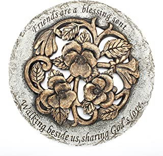 Roman Friends are a Blessing Flower Garden Bronze Finish 12 inch Stepping Stone