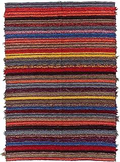 Jarapa Home Alfombra Natural 170 x 240 cm. Multicolor hecha a mano, pelo corto de Algodón reciclado - Alfombra grande de s...