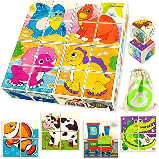 Quokka Wooden Blocks Puzzles for Babies and Toddlers 1 2 3 Year Olds | 24 Educational Images for Kids Ages 1-3 Crafted on Wood | Preschool Learning Toys for Boys and Girl | 16 Big Blocks for Games