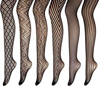 Sykooria Womens Suspender Stocking 4 Packs Fishnet Tights Lace High Elastic Hold-up Pantyhose
