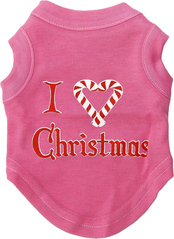 Dog   Cat   Pet Charms I Heart Christmas Screen Print Shirt Bright Pink XS (8)