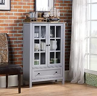 Homestar 2-Door/ 1-Drawer storage with Glass Cabinet, 11.77 x 31.5 x 47.25 - Inches, Grey