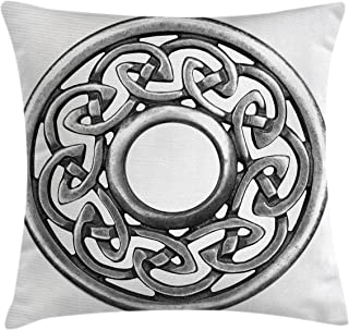 Lunarable Celtic Throw Pillow Cushion Cover, Royal Style Circular Brooch Design Antique Traditional Scottish Motif Print, Decorative Square Accent Pillow Case, 26