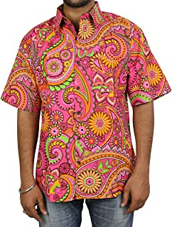 ShalinIndia Indian Dress Cotton Beach Shirt for Men Printed Fashion Accessory Comfortable Airy Pink Yellow
