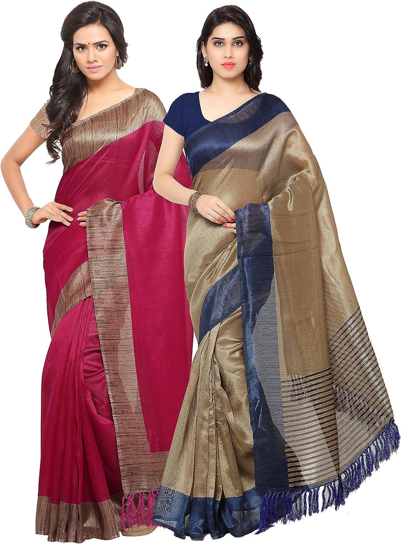 Rajnandini Women's Tussar Silk Printed Saree(JOPLNB3006C3011A_Multicolor_Combo Of 2)