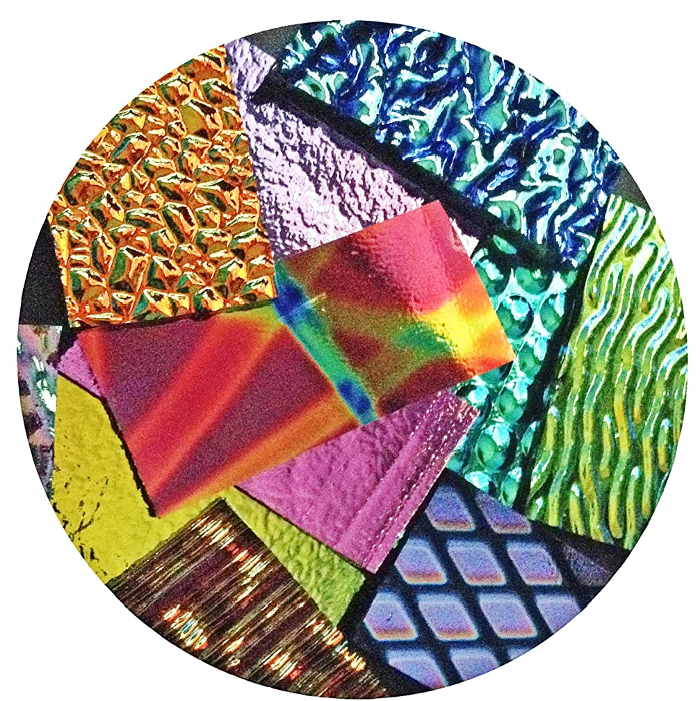 ON SALE, Assorted Dichroic on BLACK Glass Pieces - 90 coe - 4oz, Made in America
