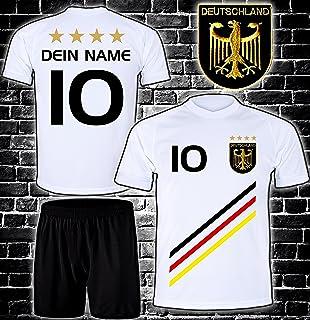 DE-Fanshop Deutschland Trikot  Hose mit GRATIS Wunschname  Nummer  Wappen Typ #D 2018 im EM/WM Weiss - Geschenke für Kinder,Jungen,Baby. Fußball T-Shirt personalisiert