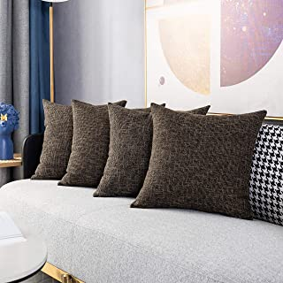 Kevin Textile Set of 4 Lined Linen Textured Decorative Throw Pillow Cover Cushion Covers for Sectional, 18x18 inch, Black Gold