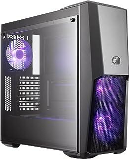Cooler Master MasterBox MB500 RGB, Caja PC ATX Panel Frontal Semi-Mallado, 3 x 120 mm Ventiladores Preinstalados, Panel Lateral de Vidrio, Configuraciones Flujo de Aire Flexible, RGB, Torre media