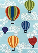 (1.5m x 2.1m) - Momeni Rugs LMOJULMJ20MTI5070 Lil' Mo Whimsy Collection, Kids Themed Hand Carved & Tufted Area Rug, 1.5m x 2.1m, Multicolor Hot Air Balloons on Sky Blue