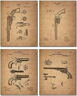 Gun Patent ウォールアートプリント - アンティークな銃器写真4枚セット - Smith and Wesson - Samuel Colt