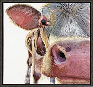 Kate and Laurel - Sylvie Close Up of a Cow Animal Portrait Framed Canvas Wall Art by Jennifer Redstreake Geary, Dark Gray 24 x 24