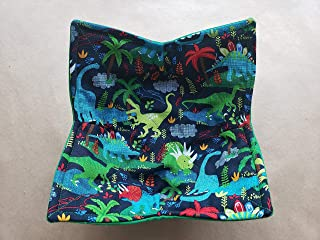 Dinosaur Microwave Bowl Cozy Dino Reversible Microwaveable Potholder Paleontologist Bowl Buddy Children's Kitchen Linens Tyrannosaurus Rex Raptor Kid Gifts Under 10 Handmade Birthday