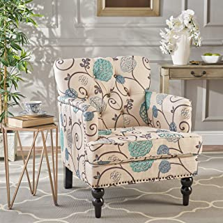 Christopher Knight Home Harrison Floral Fabric Tufted Club Chair, White/Blue