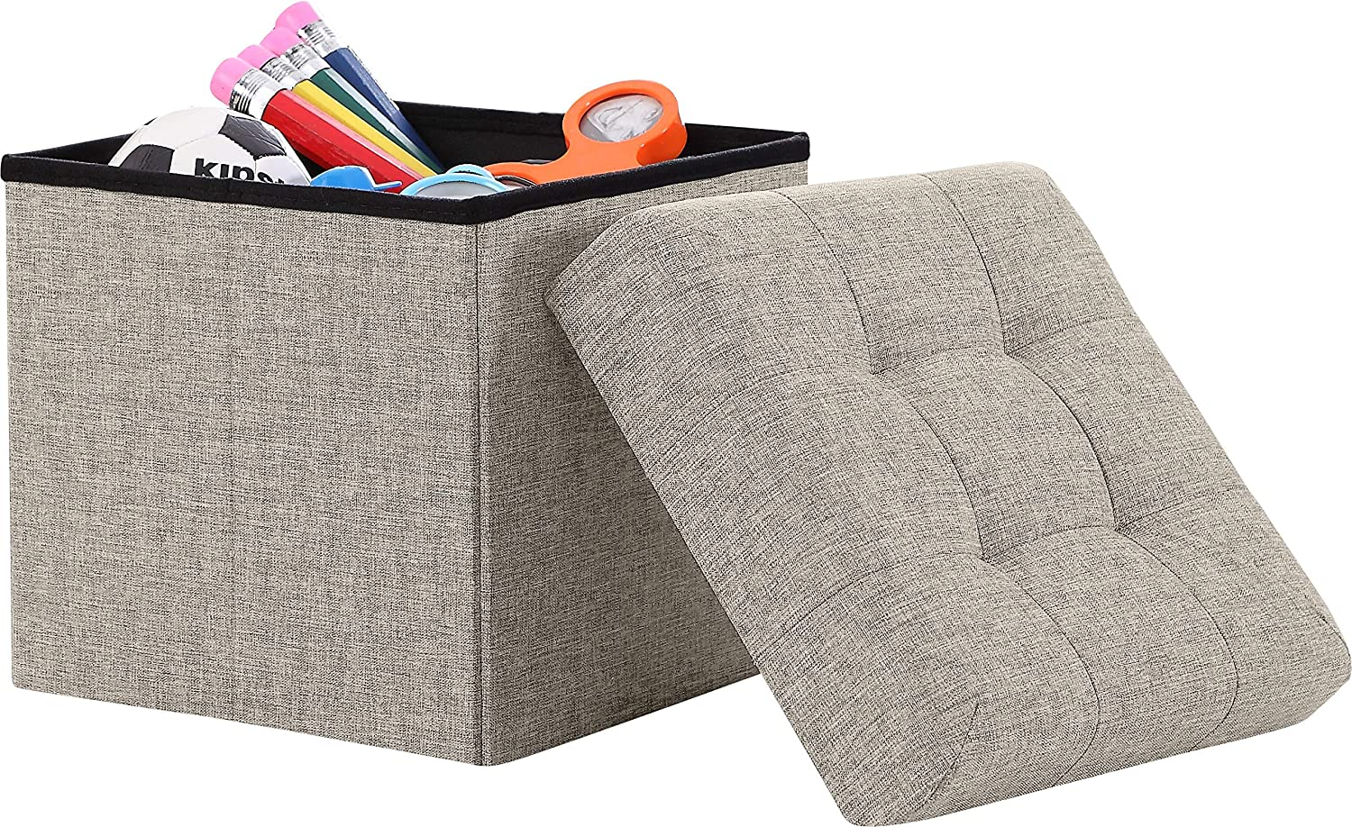 Ornavo Home Houston Mall Special price Foldable Tufted Linen Cube Ottoman Fo Storage Square