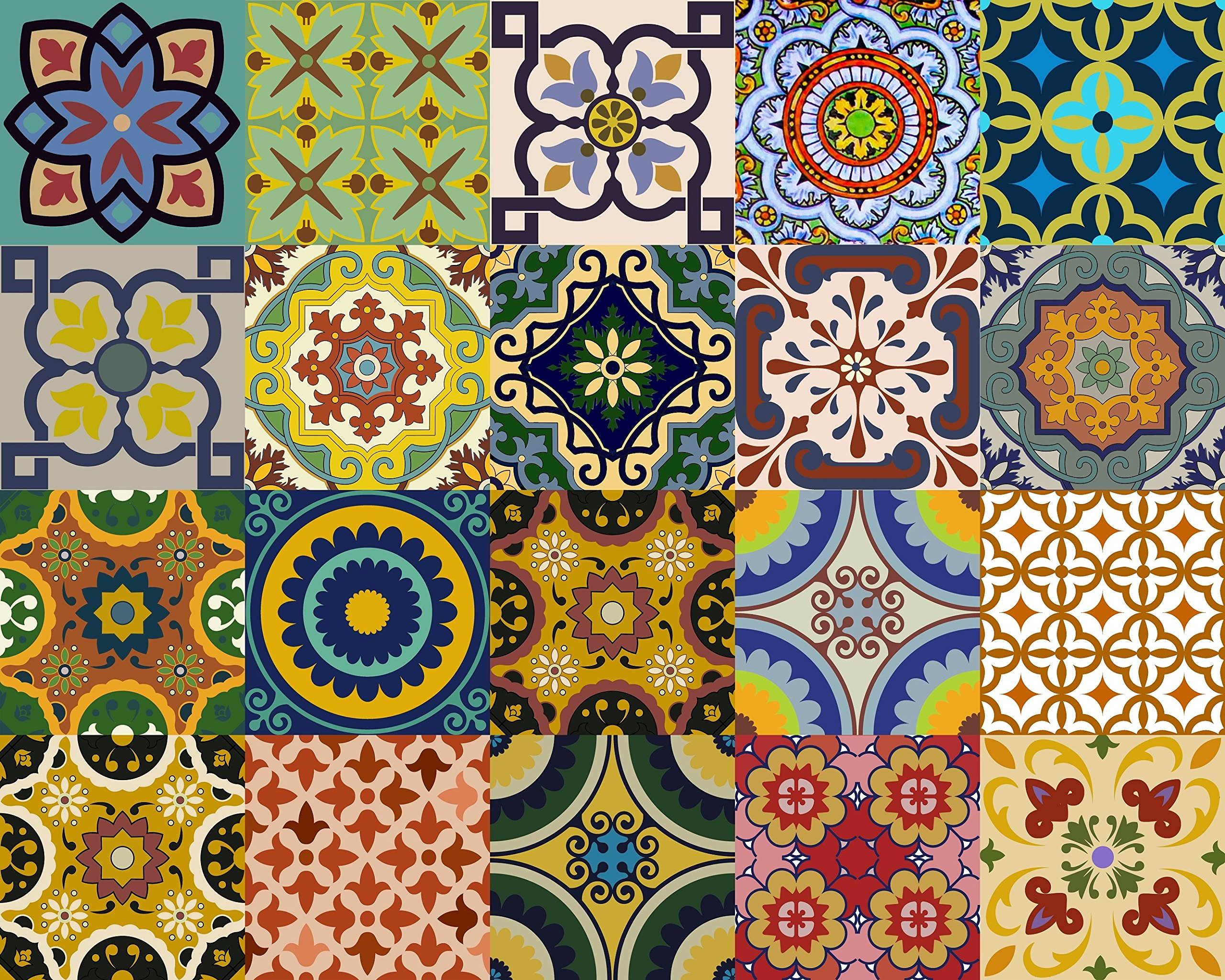 - Backsplash Tile Stickers 24 PC Set Traditional Talavera Tiles