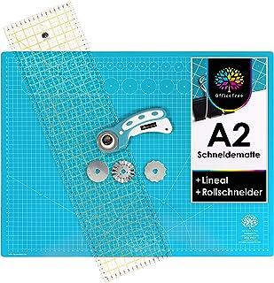 OfficeTree Kit Tapis de Découpe 60x45 cm (A2) Bleu + Cutter Rotatif + Règle 60x16 cm - Tapis de Decoupe - pour découpages ...