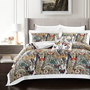 Casabolaj Fiarady Luxury Floral Duvet Covers Set 3 Pieces Do Not Include Filling Egyptian Cotton Sateen 400 TC Tropical Bright Vibrant Native Abstract Button Closure and Corner Ties Available(King)