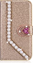 Miagon Diamond Case for Samsung Galaxy S20 Ultra Glitter Rhinestone Pearl Heart PU Leather Folio Flip Wallet Cover Magnetic Closure Card Slots Gold Estimated Price : £ 6,59