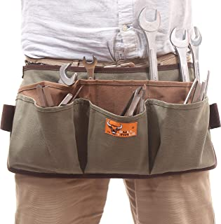 BULL TOOLS BT 18-1001 HEAVY WEIGHT 15 Oz. DYED DUCK COTTON CANVAS 13 POCKET UTILITY SMART TOOL WAIST APRON (Olive Drab)