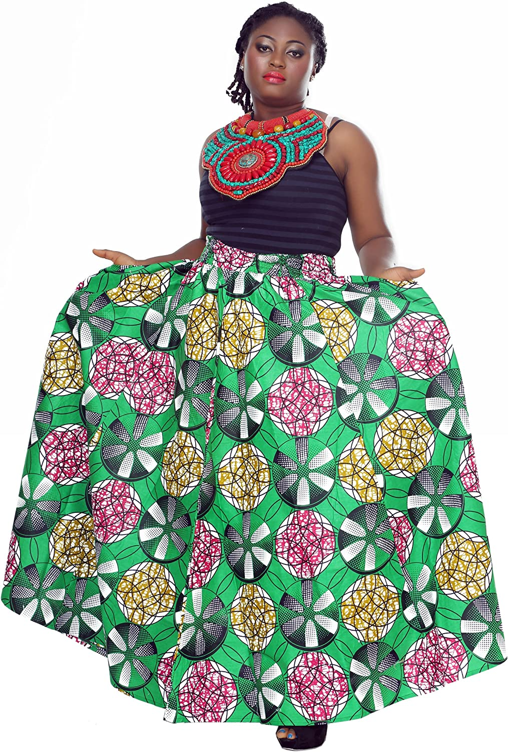 African Planet Women's Trees Wax Skirt Celestial Inspired Elastic Printed Waist Maxi