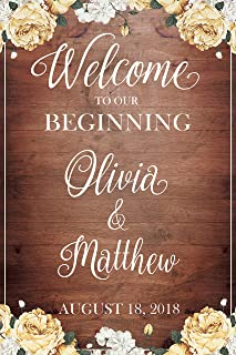 Welcome to our Beginning, Custom Wedding Sign, Wedding Reception Sign, Brown Wedding Banner, Wedding Party Signs, Wedding, Handmade Party Supply Poster Print, Size 36x24, 18x24